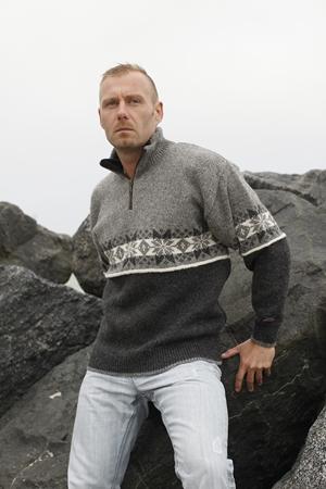 Norsk uldtrøje sweater i nordisk design af 100% ren uld